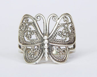 Vintage 925 Sterling Silver Filigree Butterfly Ring - Size 7 3/4