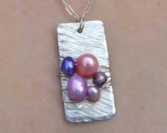 Rustic Pearl & Aluminum Pendant