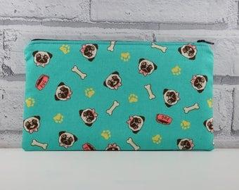 Pug Pencil Case, Cute Dog Zip Pouch, Pug Makeup Bag, Cosmetic Bag, Dog Toiletry Bag