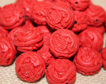 Carved Cinnabar Large Round Beads (4 Pieces)