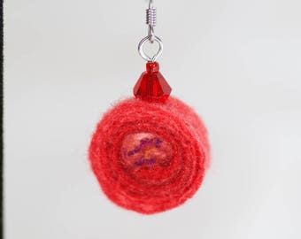 Felt earrings - wool bead earring red- handmade swirl bead - eco friendly - Lightweight earring - crystal bead - wearable art - trendy gift