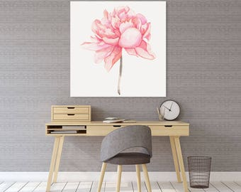 READY TO HANG Pink Peony Giclée Canvas Print, Watercolour Floral Giclee, Archival Canvas Print, High Quality Watercolour Art Print Giclée