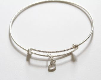 Sterling Silver Bracelet with Sterling Silver Cursive E Charm, Sterling Silver Cursive E Charm Bracelet, Leather E Charm Bracelet, E Charm