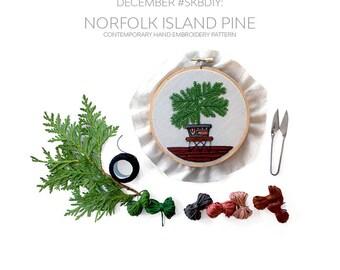 December Pine Pattern Contemporary Embroidery PDF by Sarah K. Benning - #SKBDIY Monthly Pattern Program: Single Month PDF Download