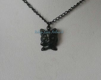 Very Small Black Cat Kitten in Bow Tie Charm Necklace on Black Enamel Coated, Fine Twisted Chain. Cute, Pets, Animals, Family