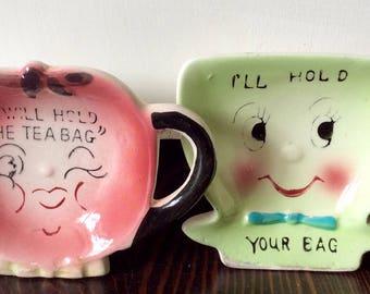 1950s PY Japan Anthropomorphic Ceramic Tea Bag Holder's, Kitschy Kitchen Decor, PY Japan Fruit, Smiling Fruit Teabag Holder, Retro Kitchen