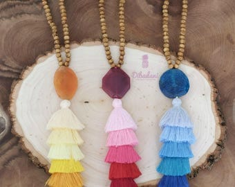 Tassel Necklace - Beaded Necklace - Long wooden beaded necklace - agate necklace - 1 piece