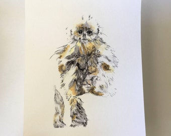 monkey A5 Print - gouache and ink Illustration - wall decor - Wildlife painting
