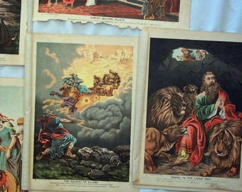 Biblical Images, 10 Vintage Chromolithographs,  Paper Pack for Collage, Scrapbooking, Cardmaking, Mixed Media Art
