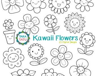 Kawaii Flowers Digital Stamp - Black and White Clipart / Kawaii Spring Clip Art / Cute Flowers Clip Art / Flower Printable / Kawaii Clip Art