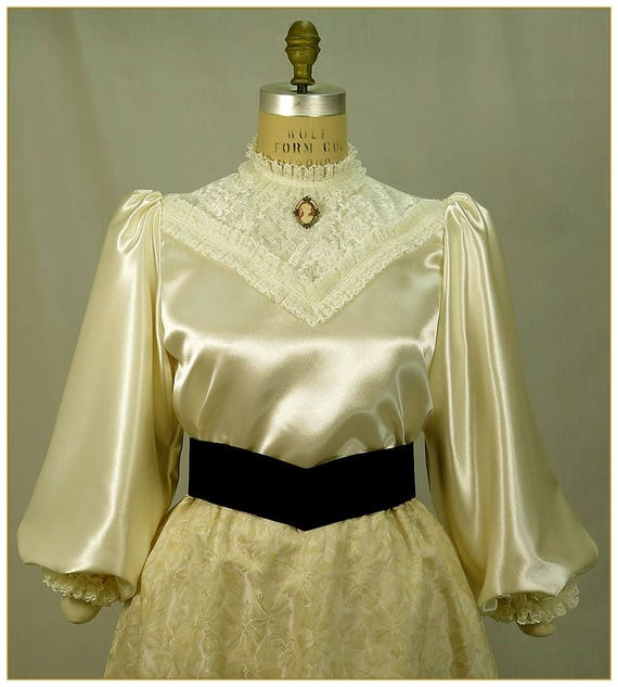 Victorian Blouses, Tops, Shirts, Vests Ivory Crepe Satin BlouseIvory Crepe Satin Blouse $65.00 AT vintagedancer.com