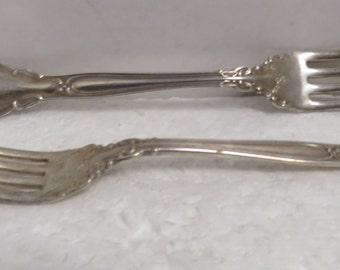 """2 Vintage Sterling Silver 7"""" Forks / 2."""