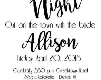 Custom Printable Girls Night/Bachelorette Invitation