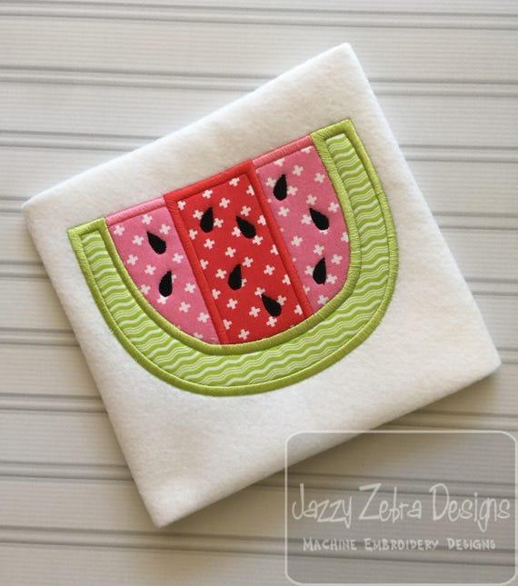 Watermelon slice applique embroidery design - watermelon appliqué design - summer appliqué design - fruit appliqué design - 4th of july
