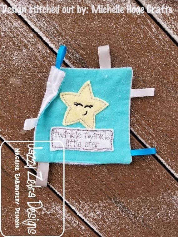 twinkle twinkle little star shabby chic appliqué embroidery design - star appliqué design - saying appliqué design - shabby chic appliqué
