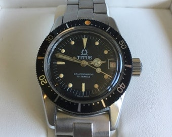 Vintage Titus Calypsomatic 7987 Divers watch Free Shipping