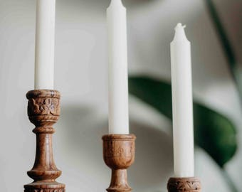 bohemian vintage hand carved wooden candle holders