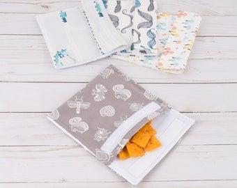 Reusable Snack Bag - Environmentally Friendly - Waterproof Snack Bag - Snack Pouch - Washable Snack Bag - Kids Snack Bag - Eco Friendly Bag