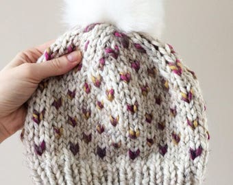 Adult Little Hearts Knit Toque || Faux fur pompom hat || Knit hat || Winter wear