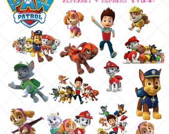 15 Paw Patrol Clipart, Paw Patrol Clipart Files, Paw Patrol PNG, Paw Patrol Cliparts, PNG with Transparent Background, Alphabet Numbers FREE