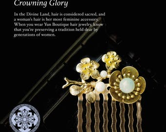Traditional Chinese Hair Jewelry, Gold and Jade Hair Comb with Plum Blossom, Body Jewelry