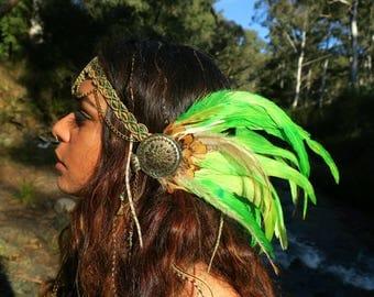 Feather Headdress, Festival headpiece, shaman feather headpiece, Tribal fusion headdress, burlesque, tribal Warrior, burning man headpiece