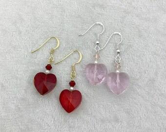 Crystal heart earrings, Valentine's earrings, Pink heart earrings, Red heart earrings