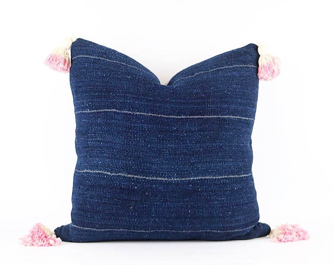 Authentic Blue African Indigo Mudcloth Textile and Pink Dip-Dyed Tassel Pillow Cover 20x20