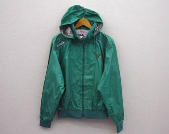 fila vintage windbreaker. fila windbreaker vintage jacket 90s hooded activewear mens size s/m r