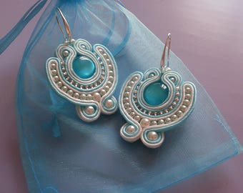 Soutache Earrings light blue/white