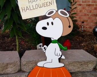 snoopy halloween yard art sign decorations,snoopy yard art ,charlie brown yard art,its the great pumpkin halloween yard art