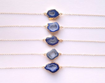 Gold Choker with Stone Choker Necklace Blue Druzy Necklace Blue Stone Necklace Chain Choker Dainty Gemstone Necklace Gold Filled Necklace