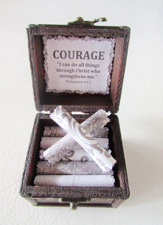 Get Well Gift, Courage Bible Box, Cancer Gift, Breast Cancer Gift, Inspirational Bible Verses in Box, Cancer Encouragement, Bible Verses