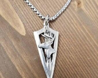 Little D Designs Antler Deer Buck Head Broadhead Arrowhead Pendant Necklace Stainless Steel Chain Men's Hunting Jewelry USA Free Shipping