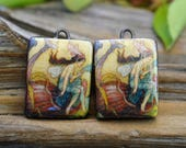 The Nautilus is My Boat-  Handmade Porcelain Picture Bead Tiles