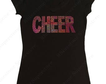 """Women's Sequence T-Shirt """" Pink AB Sequence Cheer """" in S, M, L, 1x, 2x, 3x"""