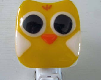 Claire - Owl / Chick: Fused Glass Night Light - Free Shipping!