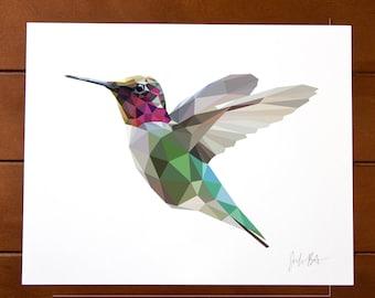 Geometric Bird 8x10 Print - Anna's Hummingbird
