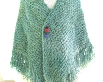 Up cycled giant hand dyed mint green mohair wool shawl, hand knit wrap, chunky felted spring green artsy wrap, one of a kind hand made shawl