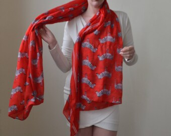 Bright red and zebra print scarf! Big!