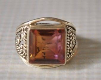 Sterling Silver Ametrine Ring Sz 5.75  #9820