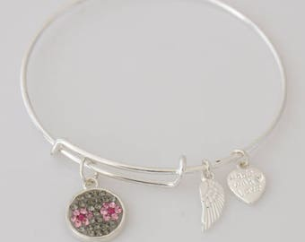 AA1070B Light Green and Pink Flower Crystal Adjustable Wire Bracelet w Small Angel Wing & Heart Charms ~ Silver Plated