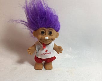 Vintage Troll Doll, Lifeguard With Purple Hair