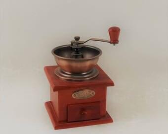 Vintage Wood and Metal Coffee Grinder