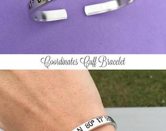 Custom Coordinates Bracelet, Hand Stamped Cuff Bracelet, Personalized Gift, Favorite Place, GPS Coordinates Gift, Latitude Longitude Jewelry