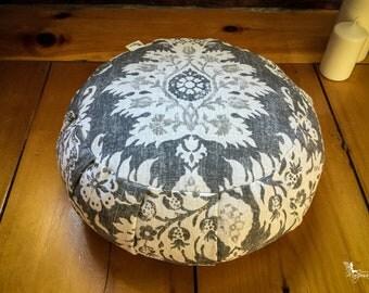 Meditation cushion traditional zafu - Lace Mandala - pillow Organic Buckwheat yoga gear handmade by Creations Mariposa