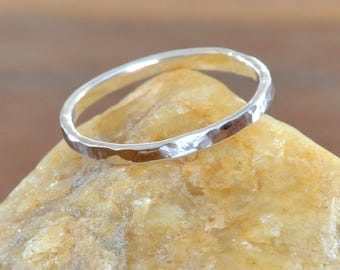Hammered Sterling Silver Stackable Ring