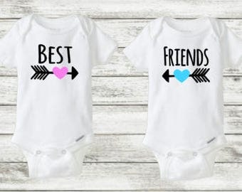 Twins Onesie Set Best Friends Onesies Funny Twin For
