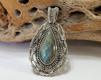 Labradorite, Wire Wrapped, Sterling Silver, Blue, Gray, Pendant, .925 Sterling Silver, Focal, Beading, Jewelry, Supply
