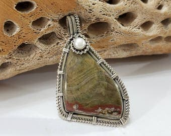 Mushroom Rhyolite, Pearl, Wire Wrapped, Sterling Silver, Pendant, .925 Sterling Silver, Focal, Beading, Jewelry, Supply